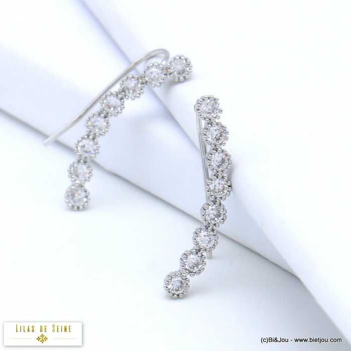 earrings 0319549-13 ear climber crawler metal rhinestone hook 3x28mm