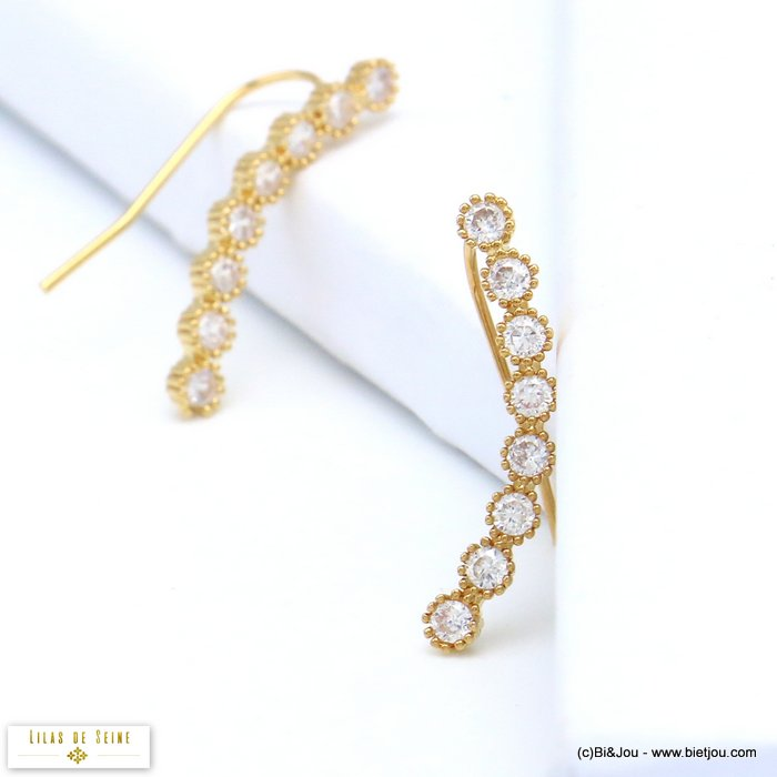 earrings 0319549-14 ear climber crawler metal rhinestone hook 3x28mm