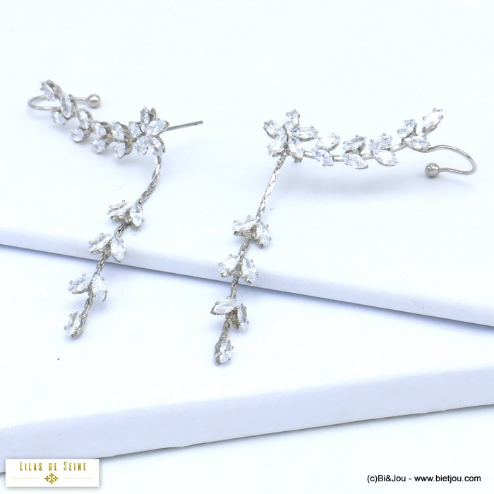 earrings 0319552-13 flower leaf ear climber crawler metal rhinstone hook stud clasp 10x80mm