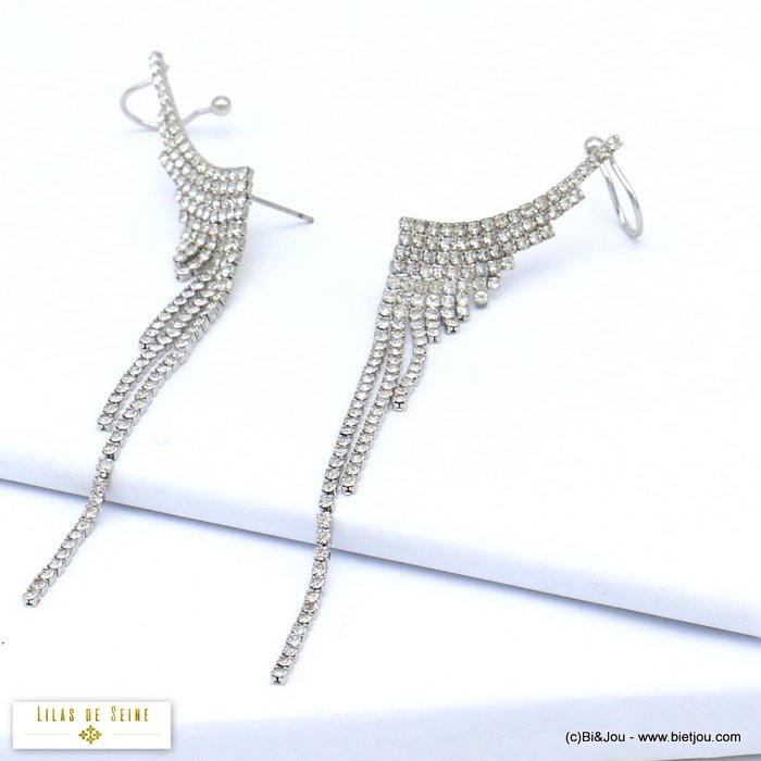 earrings 0319553-13 wing ear climber crawler metal rhinestone hook stud clasp 10x100mm
