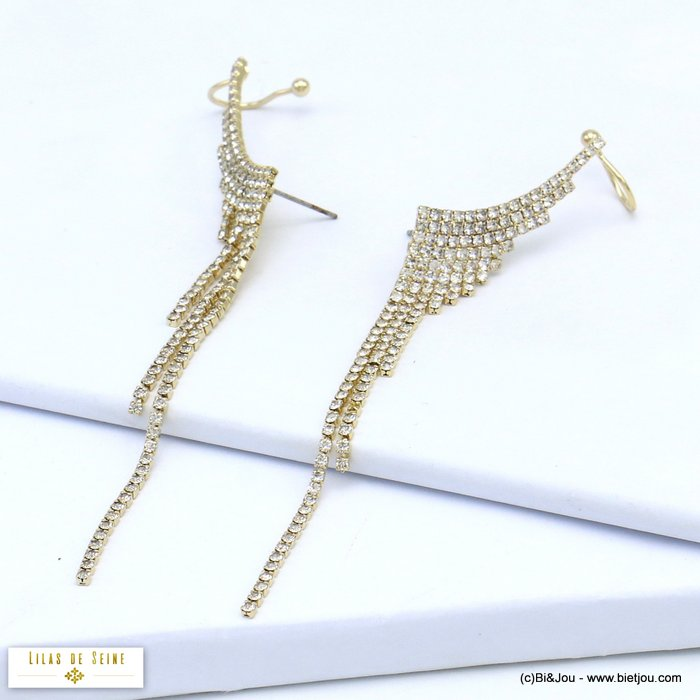 earrings 0319553-14 wing ear climber crawler metal rhinestone hook stud clasp 10x100mm