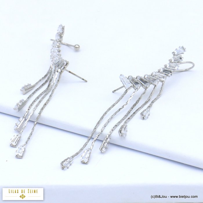 earrings 0319554-13 ear climber crawler metal rhinestone hook stud clasp 10x80mm