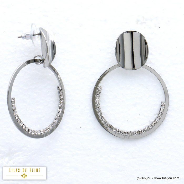 earrings 0319562-13 XXL oversized round ring metal rhinestone woman dangle stud clasp 40x50mm