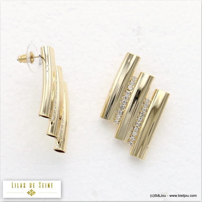 earrings 0319564-14 stud clasp metal-strass 30x46mm