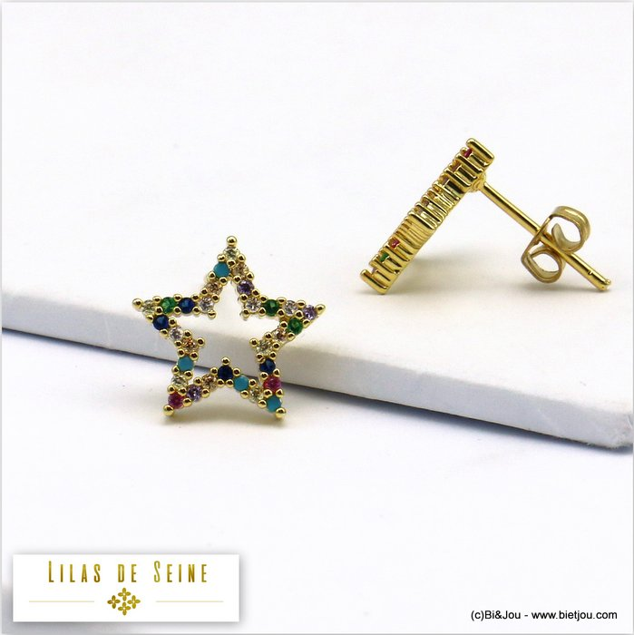 earrings 0319573-14 star metal-strass butterfly clasp 13mm