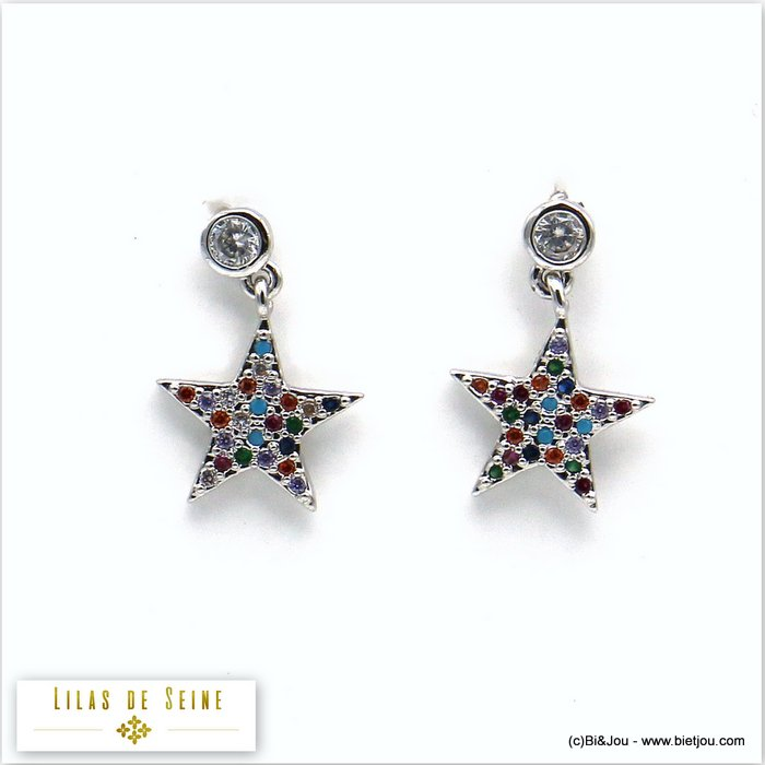 earrings 0319579-13 star metal-strass butterfly clasp 12x17mm