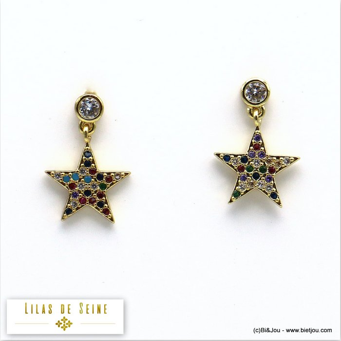 earrings 0319579-14 star metal-strass butterfly clasp 12x17mm