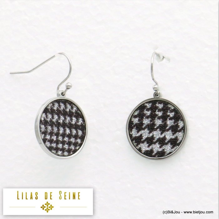 earrings 0319582-13 round stainless steel houndstooth fabric butterfly clasp diameter=17mm