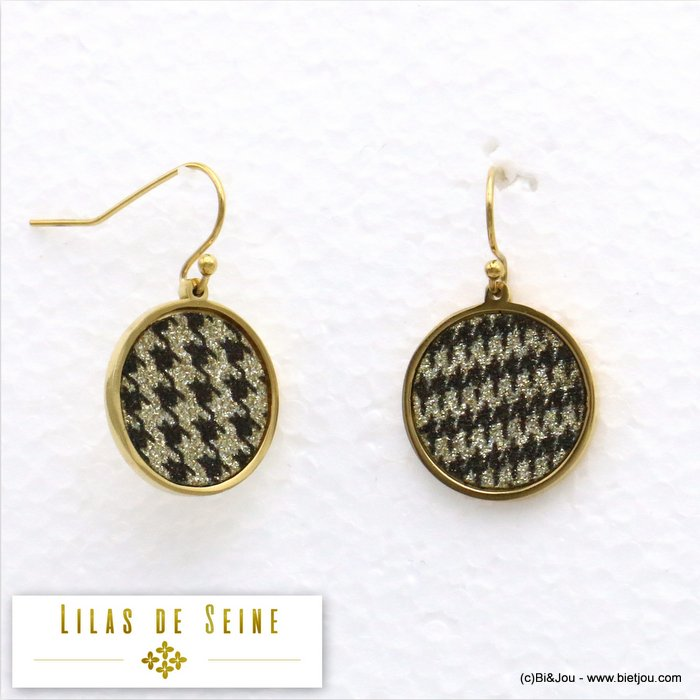 earrings 0319582-14 round stainless steel houndstooth fabric butterfly clasp diameter=17mm