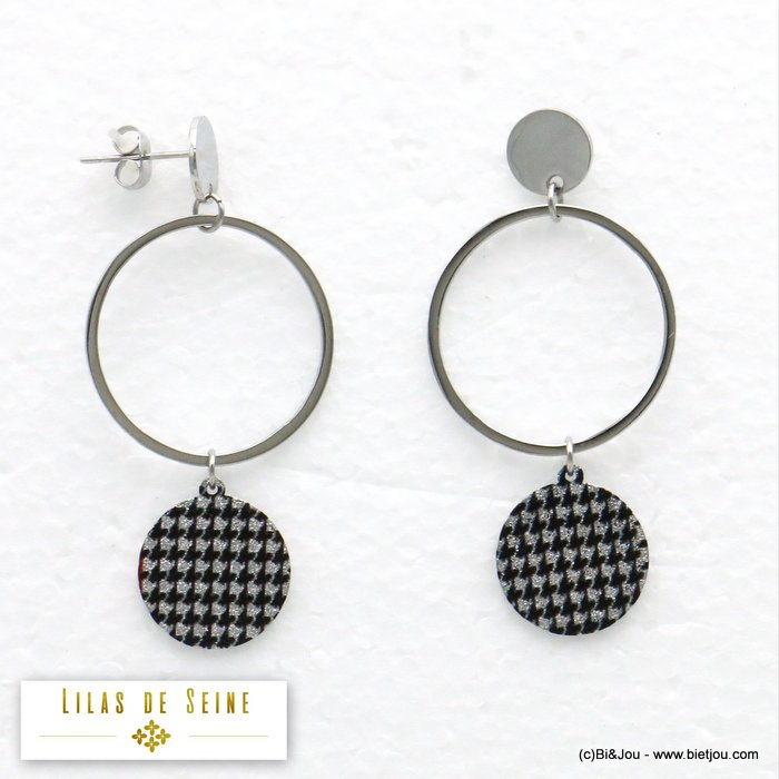 earrings 0319583-13 geometric stainless steel houndstooth fabric butterfly clasp 25x50mm