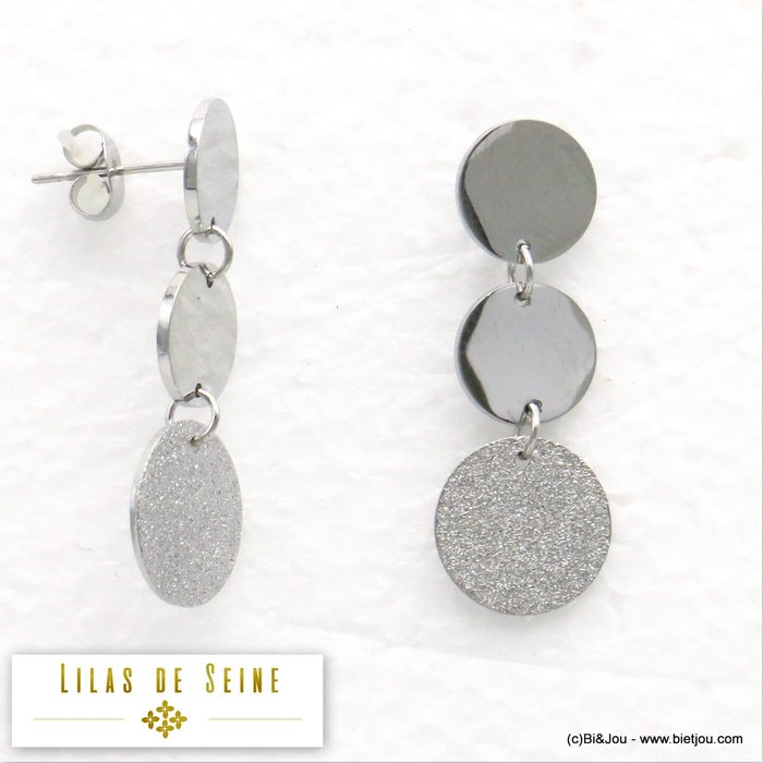 earrings 0319584-13 geometric stainless steel glitter round disc butterfly clasp 13x33mm