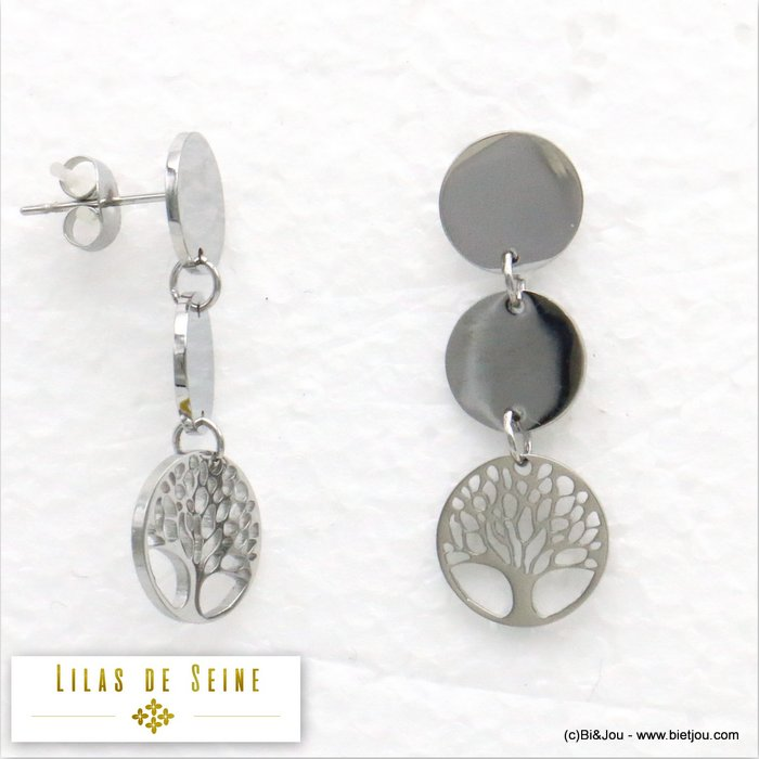 earrings 0319585-13 stainless steel tree of life butterfly clasp 11x33mm
