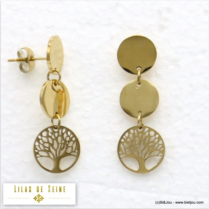 earrings 0319585-14 stainless steel tree of life butterfly clasp 11x33mm