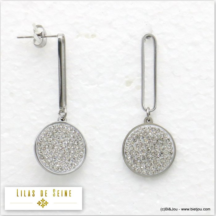 earrings 0319588-19 stainless steel paper clip rhinestone round disc butterfly clasp 15x40mm