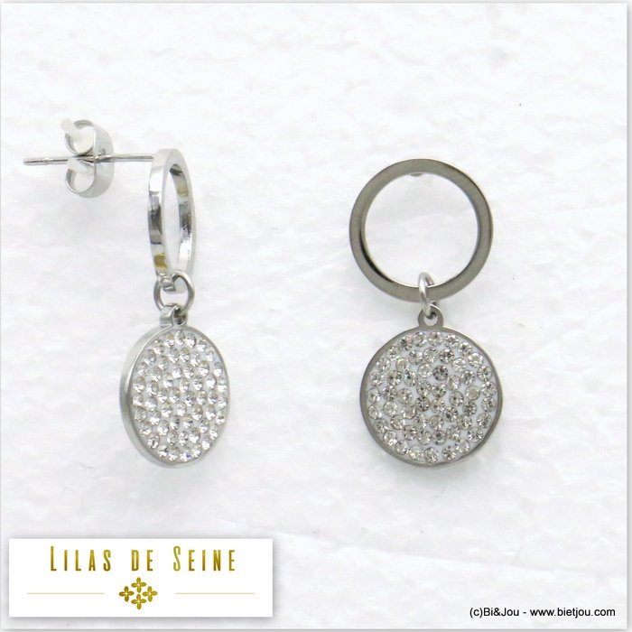 earrings 0319592-19 stainless steel geometric rhinestone round disc butterfly clasp 10x25mm