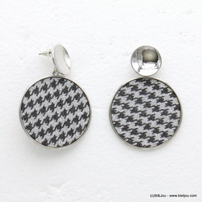 earrings 0319593-13 houndstooth glitter metal-synthetic 45x63mm