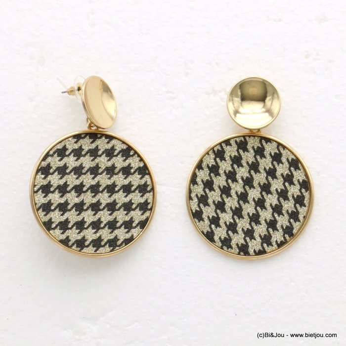 earrings 0319593-14 houndstooth glitter metal-synthetic 45x63mm