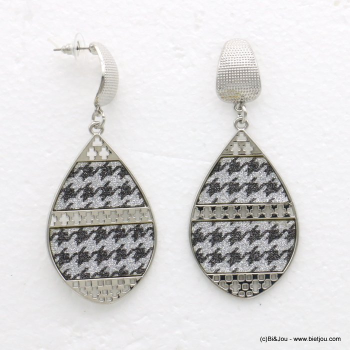 earrings 0319594-13 houndstooth glitter metal-synthetic 34x80mm