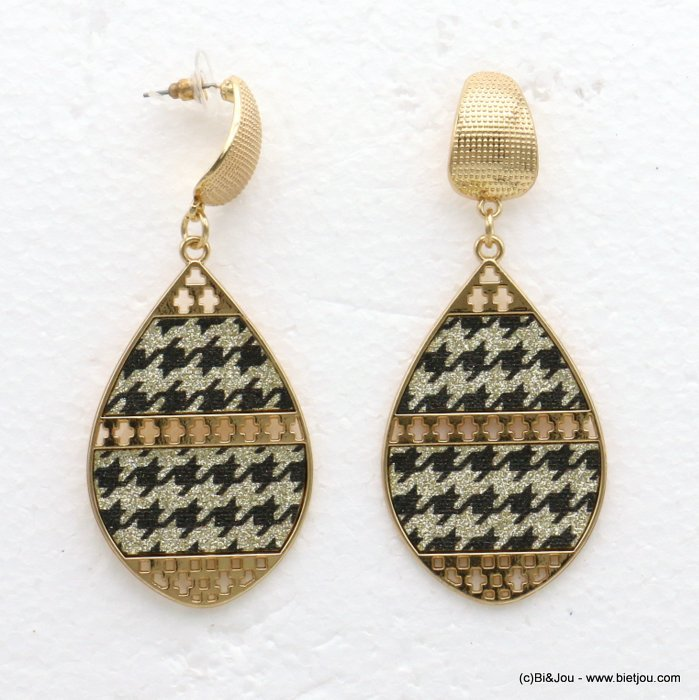 earrings 0319594-14 houndstooth glitter metal-synthetic 34x80mm