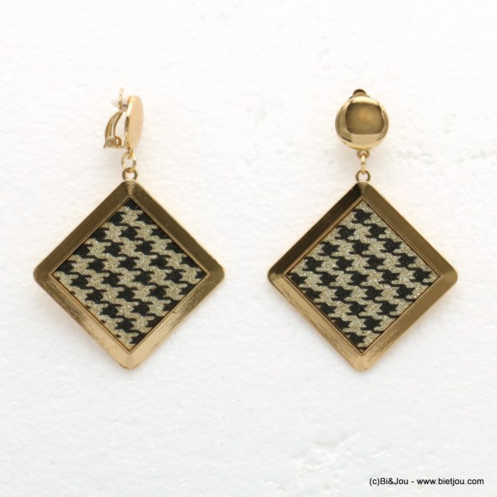 earrings 0319595-14 houndstooth glitter metal-synthetic 52x75mm