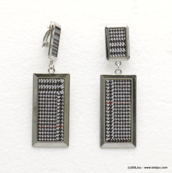 earrings 0319596-13 houndstooth glitter metal-synthetic 23x78mm