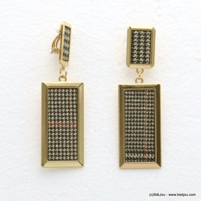 earrings 0319596-14 houndstooth glitter metal-synthetic 23x78mm
