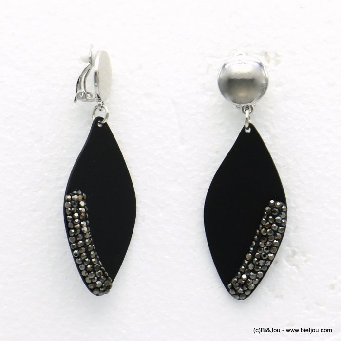 earrings 0319597-01 petal paint metal rhinestone clip clasp woman 25x70mm