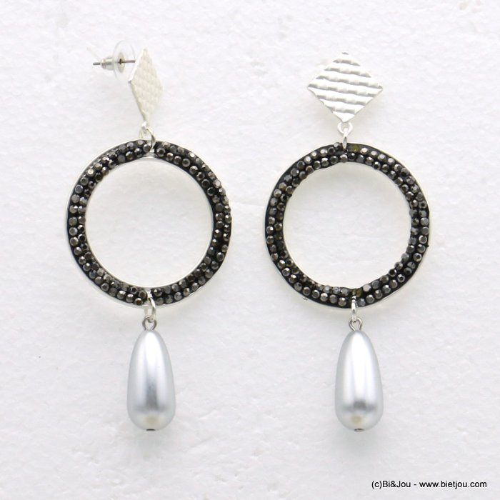 earrings 0319605-13 metal-crystal-resin 26x82mm