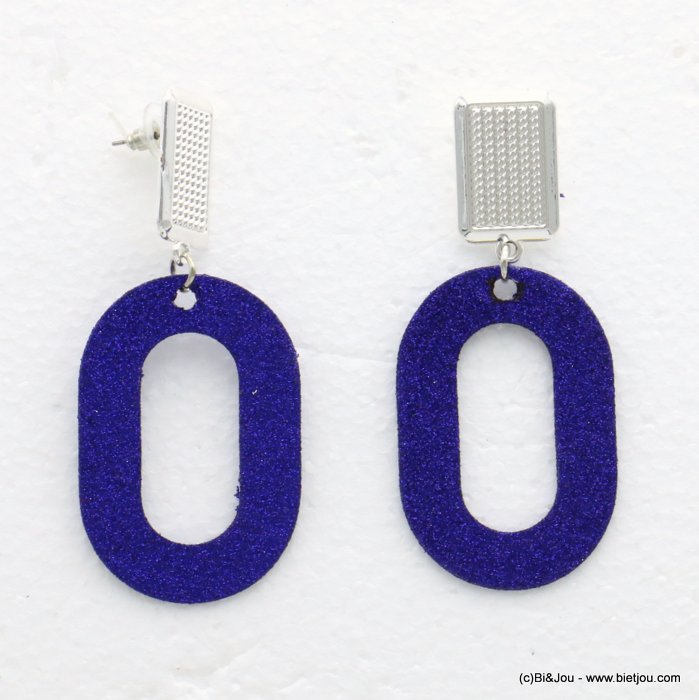 earrings 0319609-09 glitter metal 33x77mm