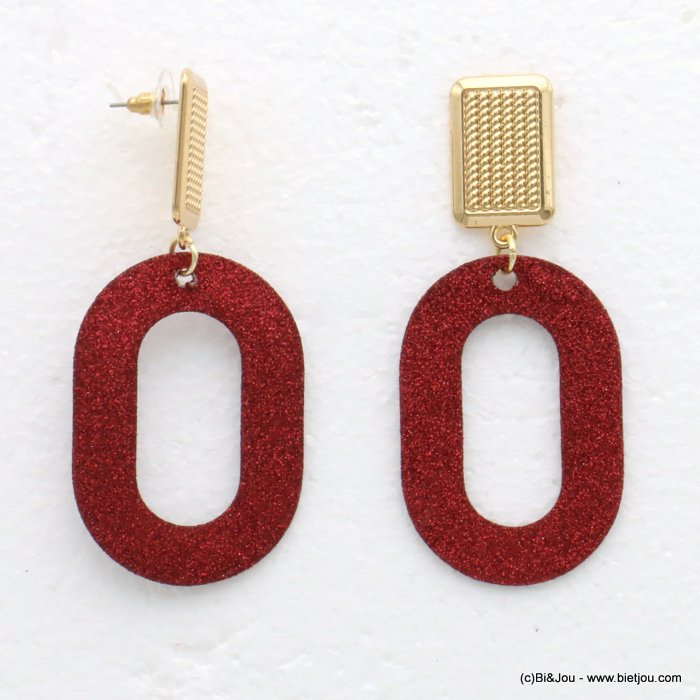 earrings 0319609-10 glitter metal 33x77mm