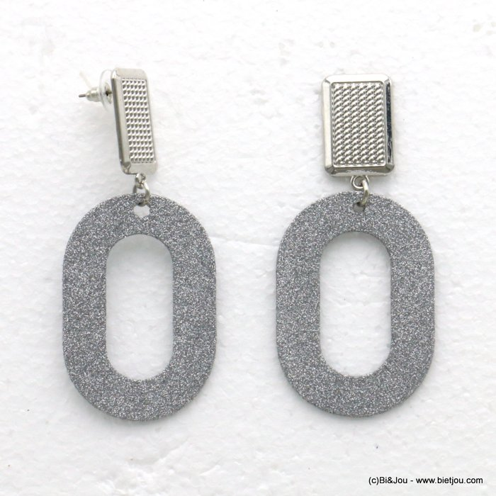 earrings 0319609-13 glitter metal 33x77mm