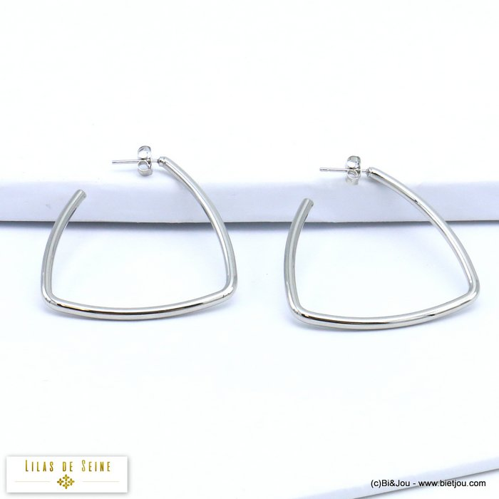 earrings 0319615-13 geometric XXL oversized metal butterfly clasp 40x42mm