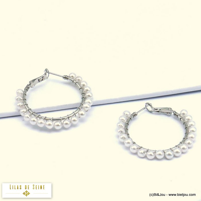 earrings 0319623-13 hoop imitation-pearl acrylic metal saddle-back clasp 4x30mm