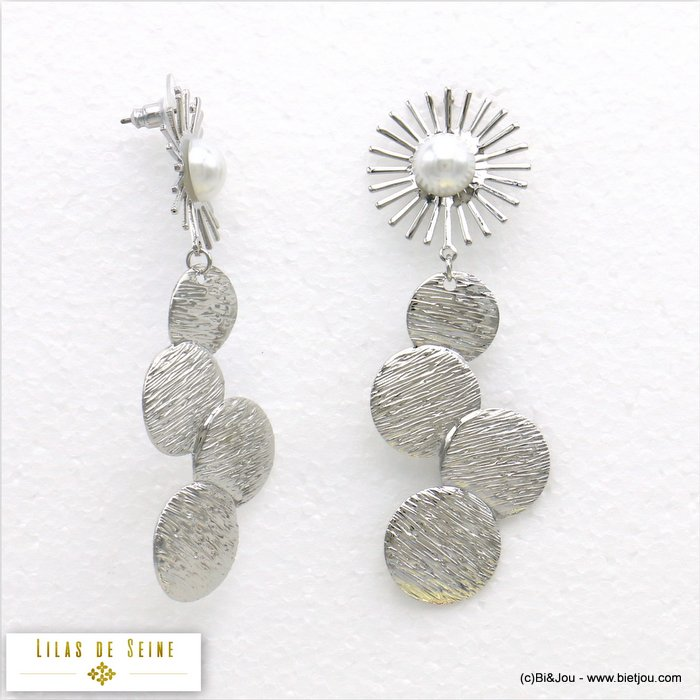 earrings 0319680-13 stud clasp metal-acrylic pearl 25x78mm