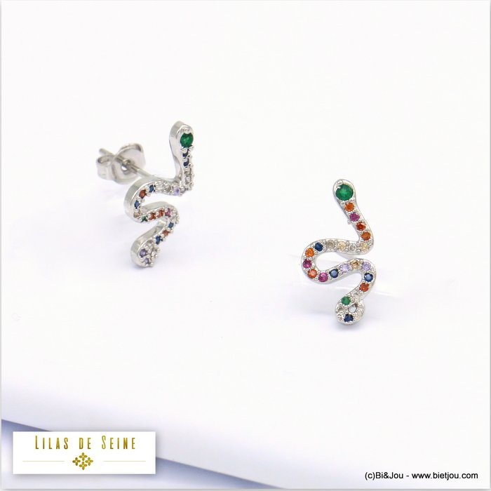 earrings 0319684-13 snake metal-strass butterfly clasp 16x8mm