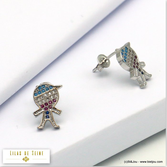 earrings 0319685-13 doll boy metal-strass butterfly clasp 13x8mm