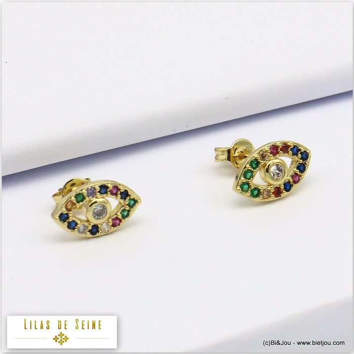 earrings 0319686-14 eye metal-strass butterfly clasp 12x7mm