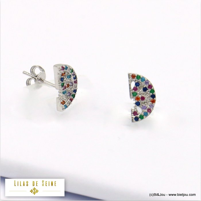 earrings 0319687-13 moon metal-strass butterfly clasp 11x5mm