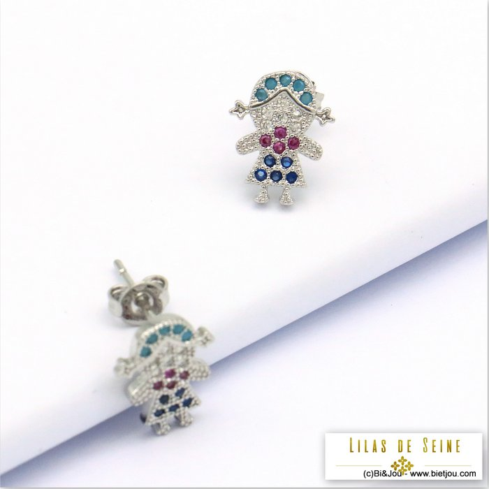 earrings 0319688-13 doll girl metal-strass butterfly clasp 12x9mm
