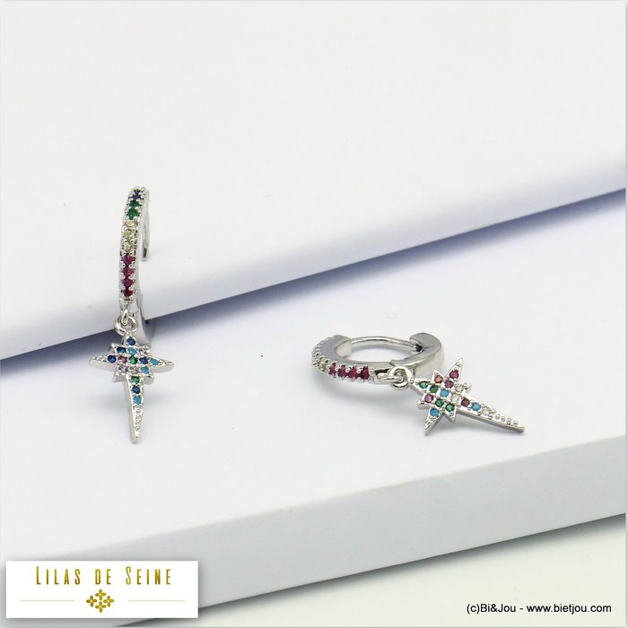 earrings 0319689-13 french clip metal-strass 30x8mm