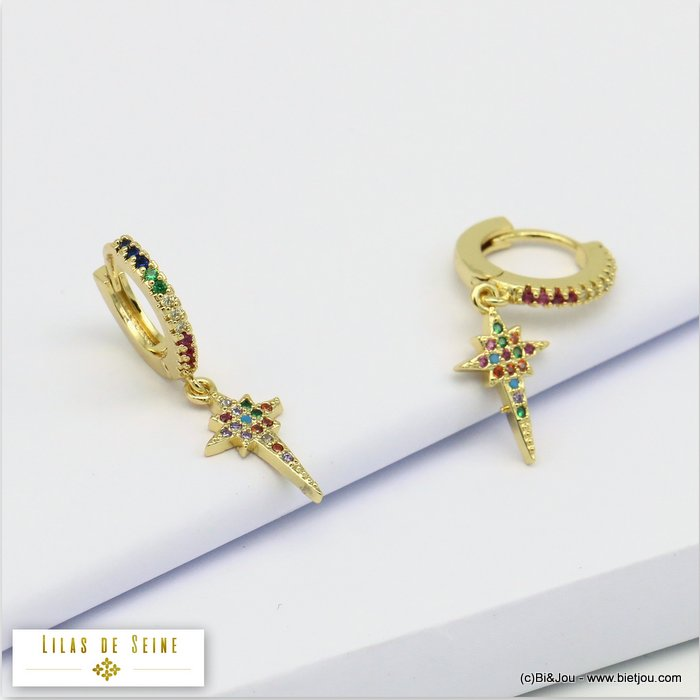 earrings 0319689-14 french clip metal-strass 30x8mm