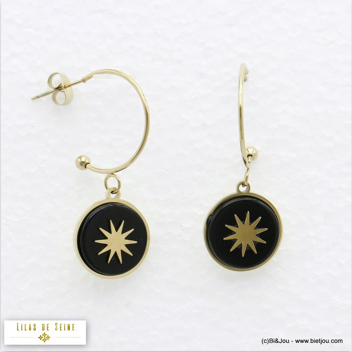 earrings 0319716-01 half hoop 15mm round natural stone stainless steel north star woman butterfly clasp size:20x35mm