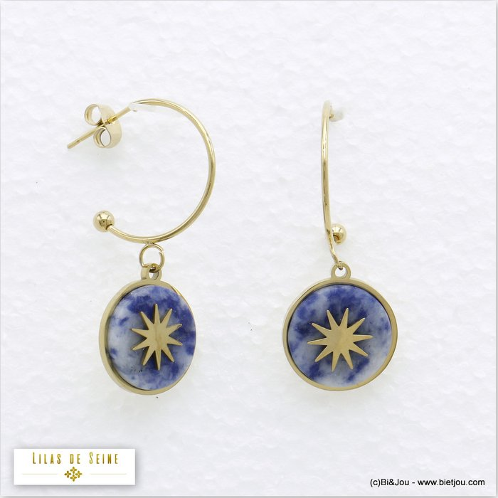 earrings 0319716-08 half hoop 15mm round natural stone stainless steel north star woman butterfly clasp size:20x35mm