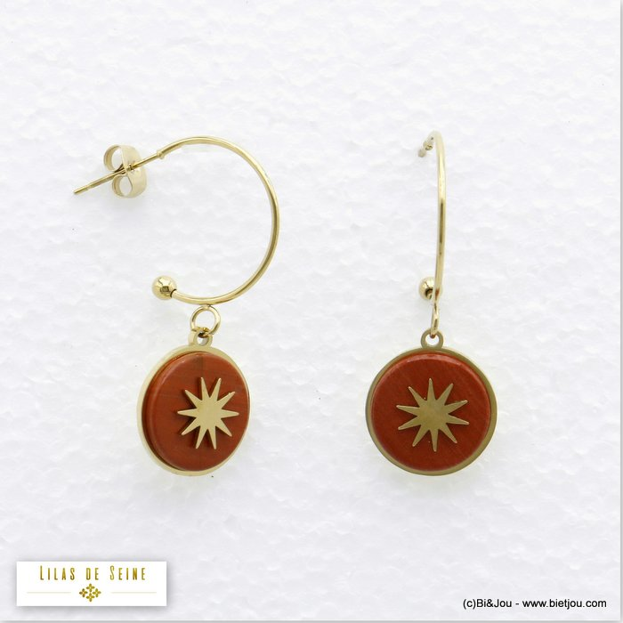 earrings 0319716-10 half hoop 15mm round natural stone stainless steel north star woman butterfly clasp size:20x35mm