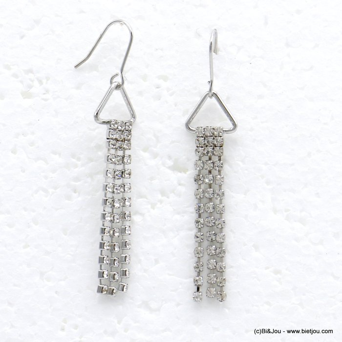 earrings 0319717-13 dangle chic with strass and inmetal and pendants rod flexible triangle woman 55x10mm