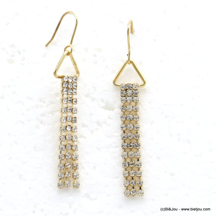 earrings 0319717-14 dangle chic with strass and inmetal and pendants rod flexible triangle woman 55x10mm
