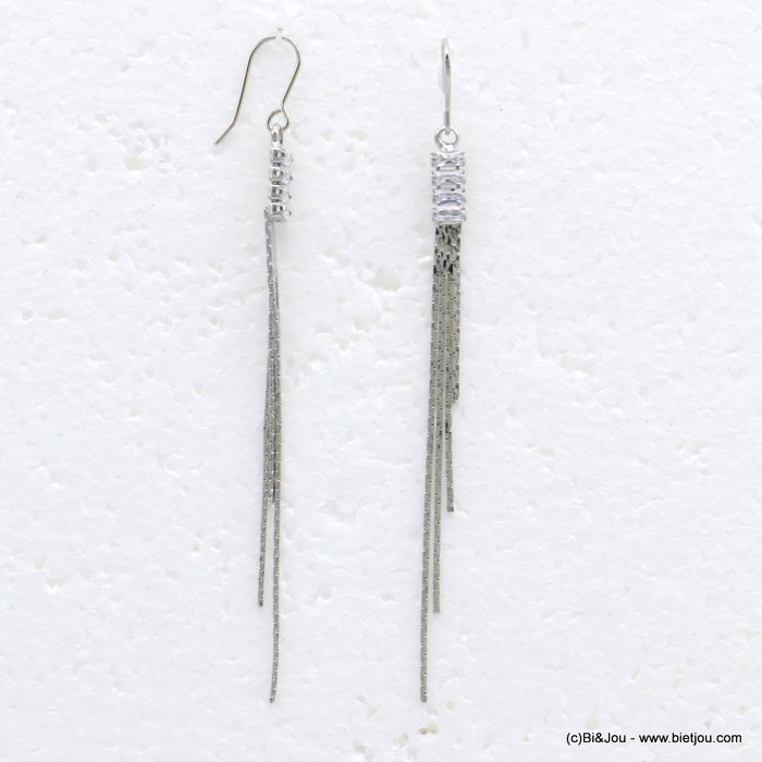 earrings 0319718-13 dangle chic metal with strass pendant rod and rectangular woman 70x3mm