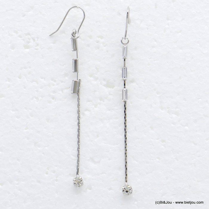 earrings 0319719-13 dangle chic metal with strass pendant rod and rectangular woman 70x3mm