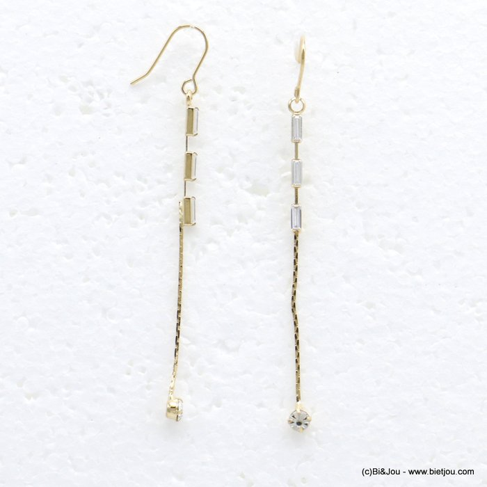 earrings 0319719-14 dangle chic metal with strass pendant rod and rectangular woman 70x3mm