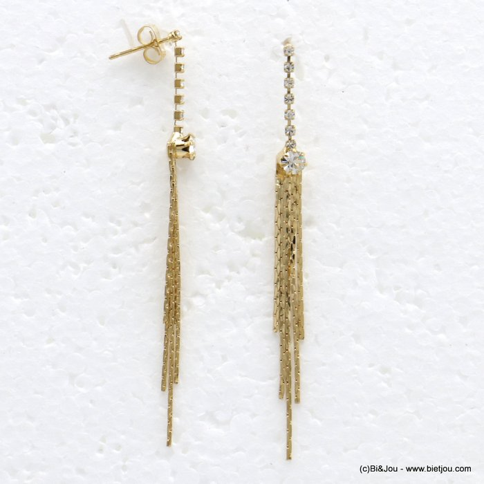 earrings 0319720-14 dangle chic in metal strass with pendants rod woman 70x4mm